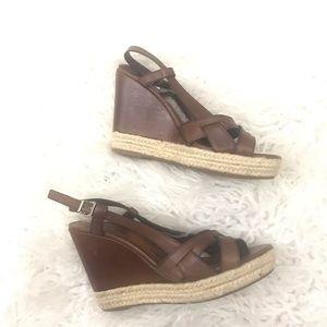 Schutz Brown Leather Wedge Sandals Size 36